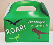 Personalised dinosaur party gift boxes