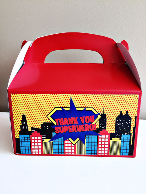 Personalised superhero party gift boxes
