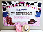 Personalised vinyl cowgirl party backdrop