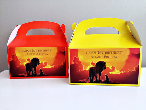 Lion King personalised party gift boxes