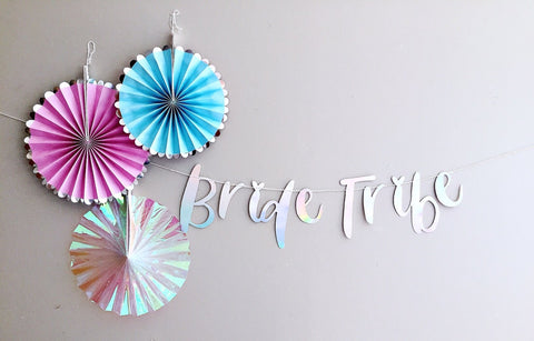 Iridescent bride tribe hen party supplies