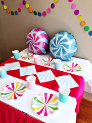 Rainbow themed party supplies box