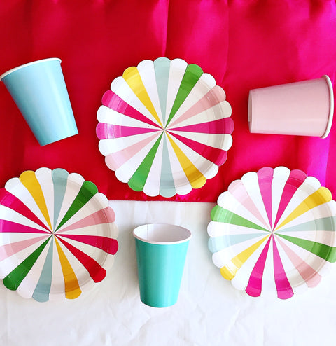 Rainbow themed striped party supplies
