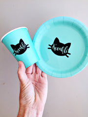 Cat themed personalised party tableware