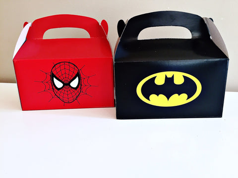 Spiderman Batman party loot gift boxes