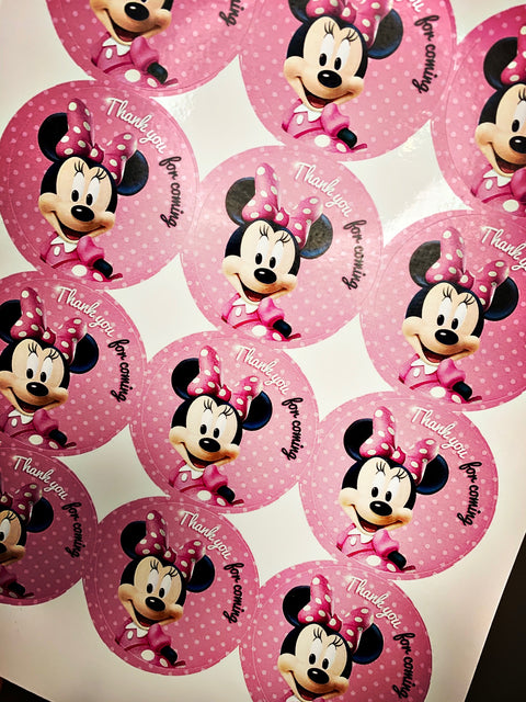 Minnie mouse thankyou for coming stickers