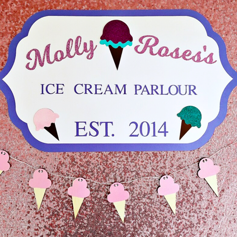 ice cream personalised party sign