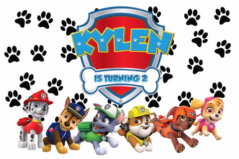Paw Patrol custom party vinyl backdrop
