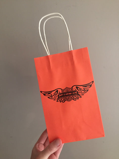 Harley davidson motorbike themed party bags