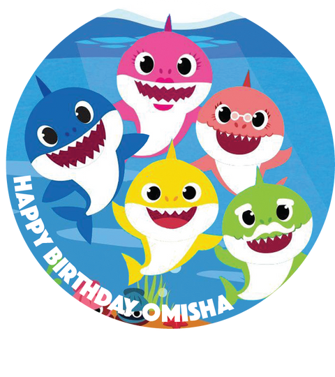 Personalised party stickers Baby Shark theme