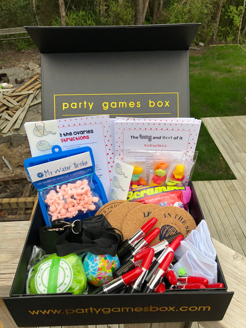 Baby shower party games box