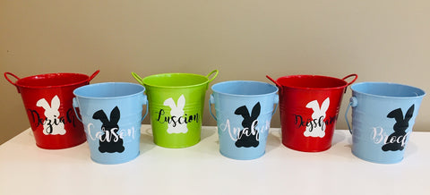 Bunny party supplies personalised buckets