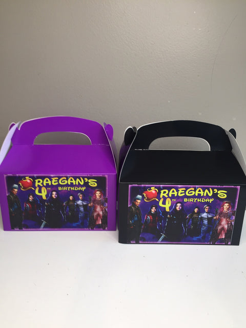 Descendants party personalised gift boxes