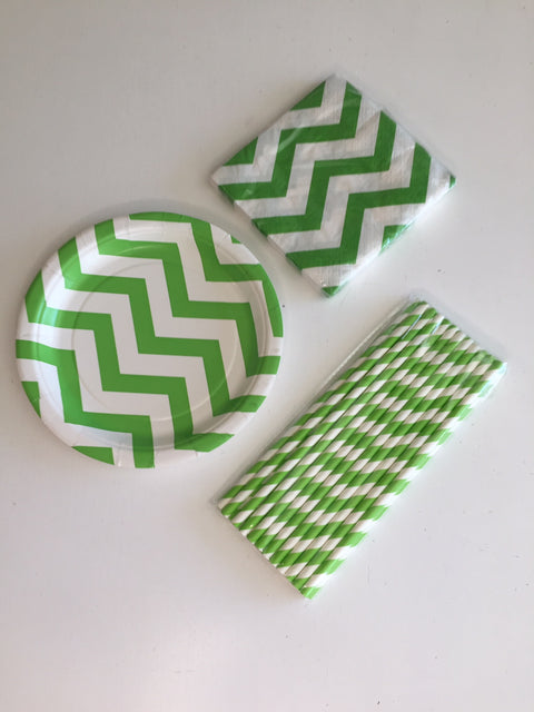 Green chevron tableware