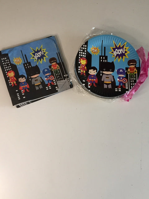 Superhero plates and napkins