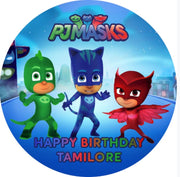 Personalised party stickers PJ Masks theme
