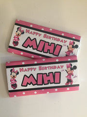 Minnie mouse personalised chocolate bars