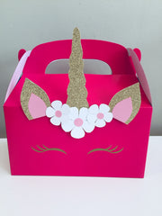 Personalised unicorn party gift boxes