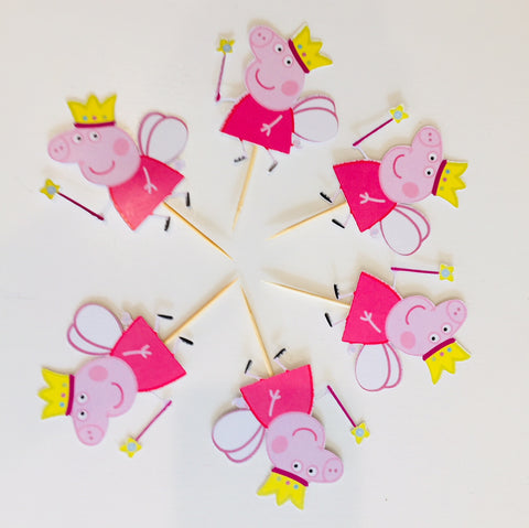 Peppa pig party cupcake toppers
