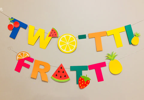 Two-tti frutti or tutti-frutti party bunting