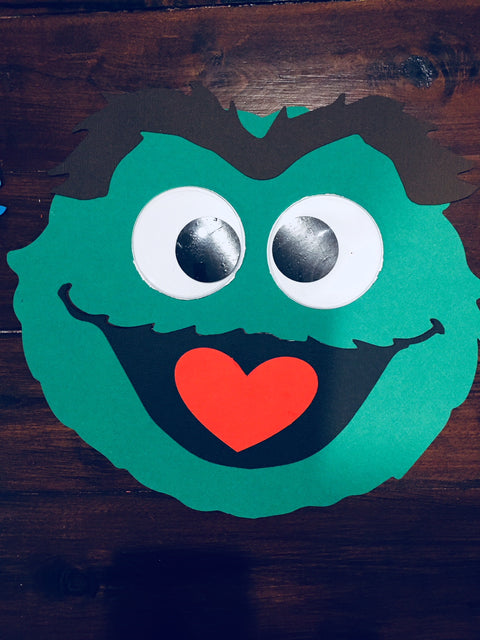 Handmade Oscar the grouch party decorations