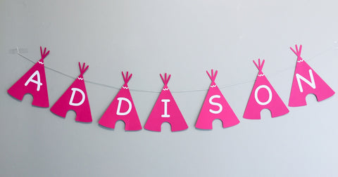 Teepee personalised party bunting