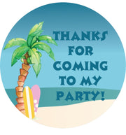 Personalised party stickers surf theme