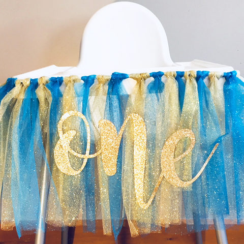 blue and gold high chair tutu