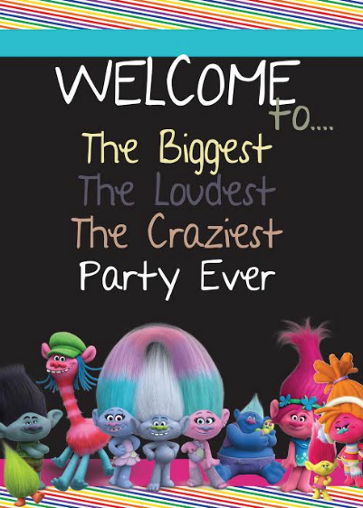 Trolls party sign