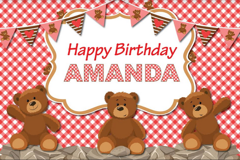 Teddy Bears Picnic personalised backdrop