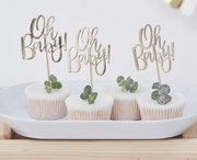 Oh baby gold cupcake toppers baby shower