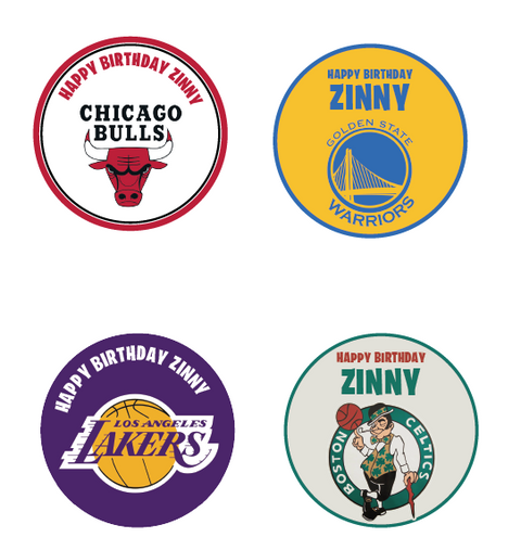 Personalised basketball team stickers