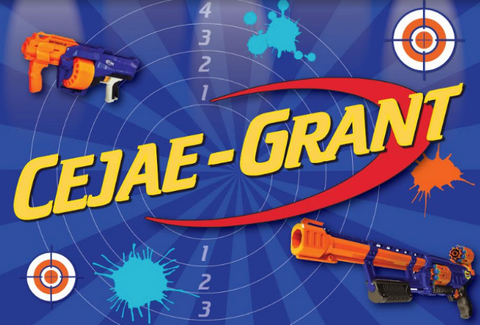 Personalised nerf party backdrop