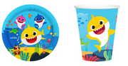 Baby shark themed party tableware