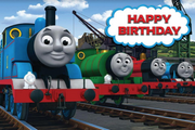 Thomas the tank engine happy birthday backdrop