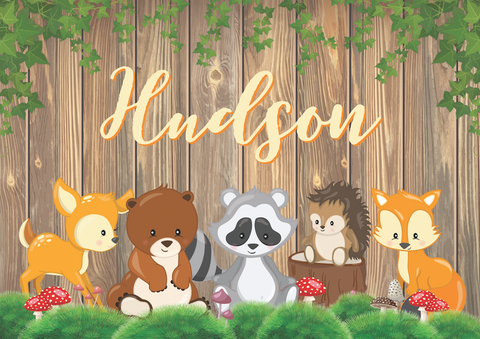 Woodland animal personalised backdrop