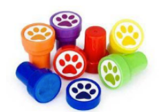paw print stamps dog party favours
