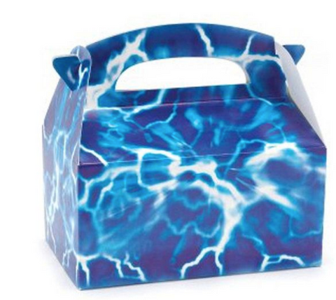 Blue lightning treat party gift boxes