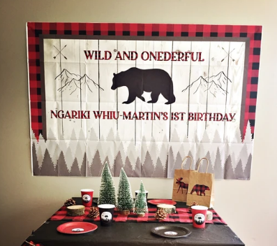 WILD AND ONEDERFUL LUMBERJACK FIRST BIRTHDAY BACKDROP