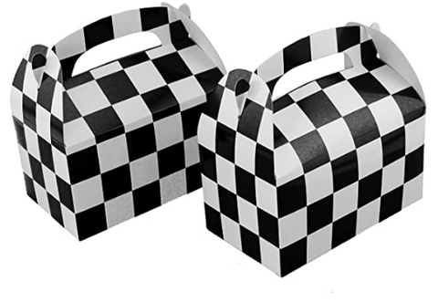 Checkered black and white racing themed party favour boxes