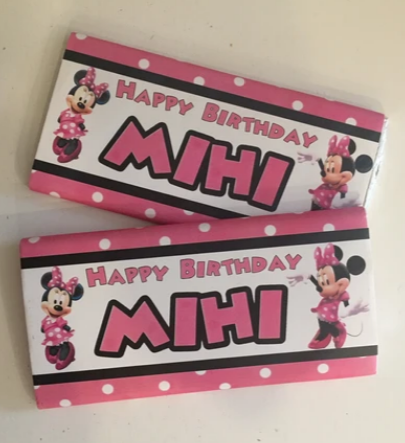 Minnie mouse personalised chocolates