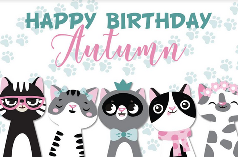 Cat party personalised backdrop