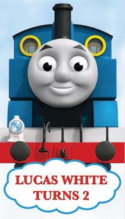 Thomas the tank engine personalised vinyl backdrop