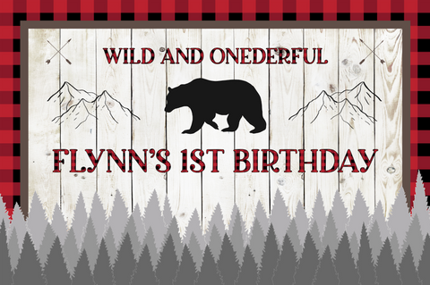 Wild and onederful / lumberjack personalised vinyl backdrop