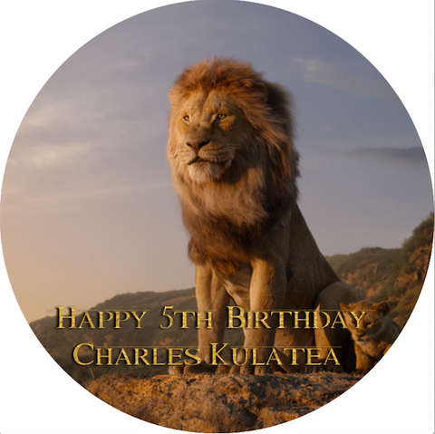Personalised party stickers Lion King theme