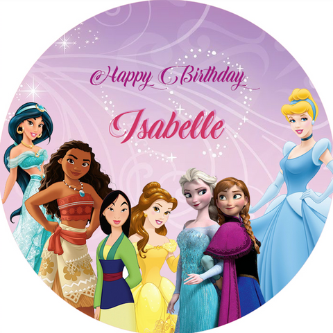 Personalised party stickers Disney Princess theme