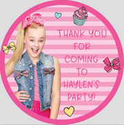 Personalised party stickers Jo Jo Siwa theme