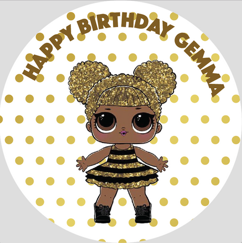 Personalised party stickers LOL Surprise Doll theme