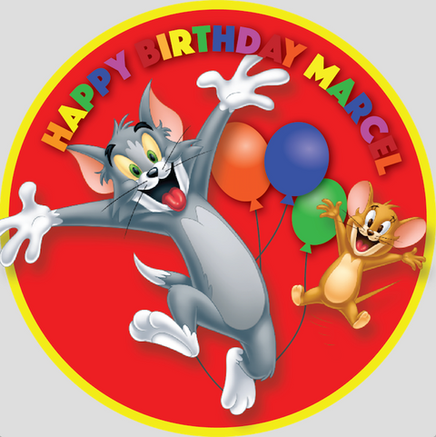 Personalised party stickers Tom and Jerry theme