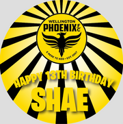Personalised party stickers Soccer Phoenix theme